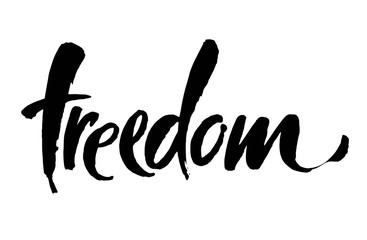 Freedom handwritten inscription. Hand drawn lettering. Modern brush calligraphy. Freedom card. Vector illustration. Handwrittem text for banner, poster and postcard or t-shirt print.