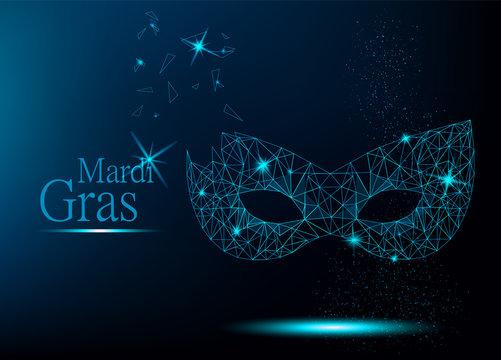 Mardi Gras blue polygonal carnival mask