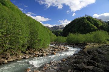 Aragvi river valley, Caucasus, Georgia
