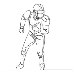 Continuous Line Drawing American Football Player.