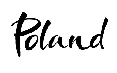 Poland hand lettering. Name of country. Ink illustration. Modern brush calligraphy. Isolated on white background.