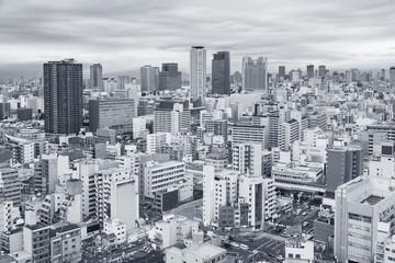 Fototapete - Skyline of Osaka city, Japan