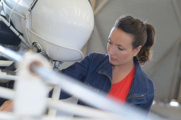 woman in the hangar