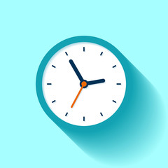 Clock icon in flat style, timer on color background. Business watch. Vector design element for you project