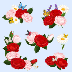 Romantic flowers bouquets of realistic roses and chamomile with butterflies