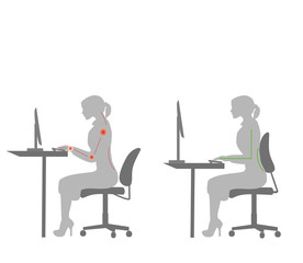 Correct sitting at desk posture ergonomics advices for office workers: how to sit at desk when using a computer