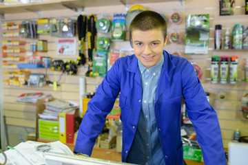 Portrait of young shopkeeper