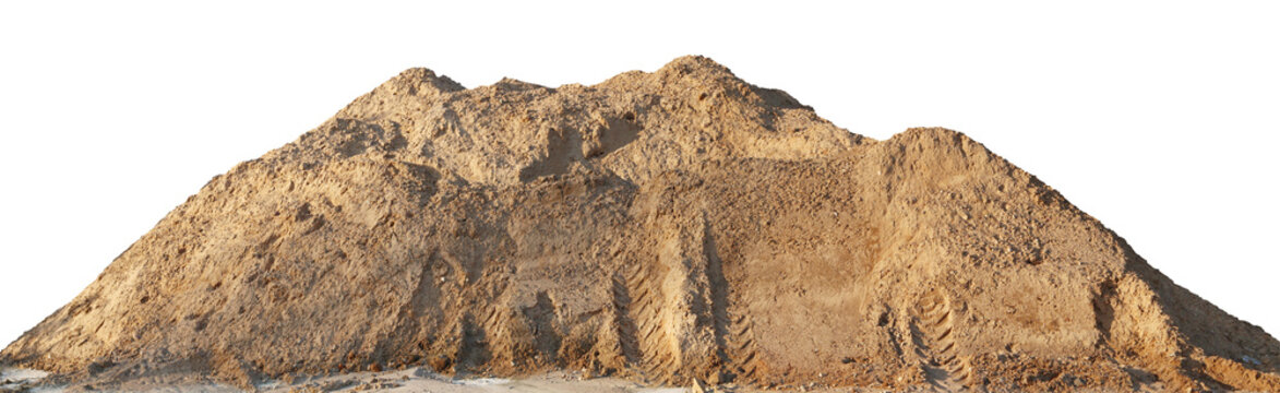 A large pile of construction sand with traces of tractor wheels