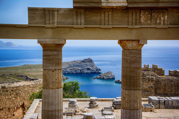 Picturesquare view from the Acropolis, Lindos, Greece