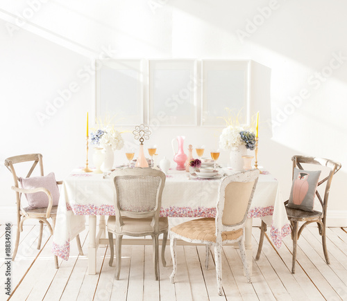 decorative white dining room and frames white details background ...