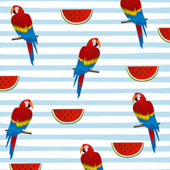 Wattermelon and parrots with stripes seamless pattern background. Tropical poster design. Summer and holidays background. Wallpaper, invitation card, textile print vector illustration design