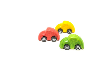Isolated Colorful wooden car toy in race on white background