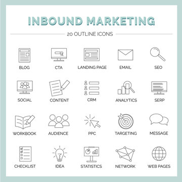 Inbound Marketing - 20 Vektor Icons with Blog, Social Media, CTA, Landing Page, CRM, Content, Email, SEO