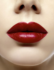 red full lips close-up