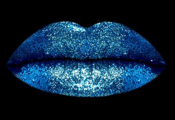 blue glitter lips close-up