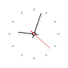 Clock icon minimalistic in flat style. Timer on white background. Business watch. Vector design element for you project