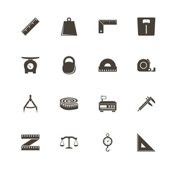 Scales Rulers icons. Perfect black pictogram on white background. Flat simple vector icon.
