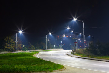 city exit at night with LED streetlights Wall mural