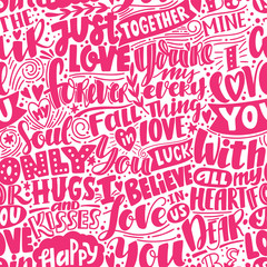 Love pattern. Pink seamless pattern with phrases and words about love. Can be used for wedding or Valentine's day decoration