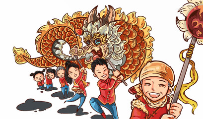 Happy family dragon dance