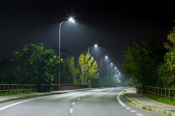 night urban road at night wit modern LED street lights Fotomurales