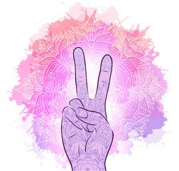 Illustration of hands with a gesture of peace. Tribal Mandala with watercolor splashes. Vector element for printing on T-shirts, covers and your design.