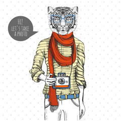 Retro Hipster animal tiger with photo camera. Woman model
