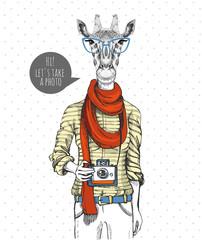 Retro Hipster animal giraffe with photo camera. Woman model