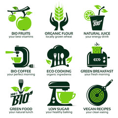 flat icon set for green eco kitchen, the drop shadow contains transparencies, eps10