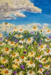 Original oil painting of white daisies flowers,