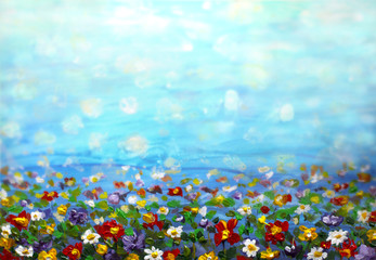 Foto op Textielframe Bloemen oil painting purple cosmos flower, white daisy, cornflower, wildflower. Flowers meadow, green field paintings. Hand painted floral and green blue sky. Spring flower nature background