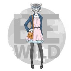 Retro Hipster fashion animal tiger. Woman model