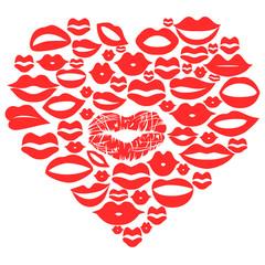 red lips set in heart,vector