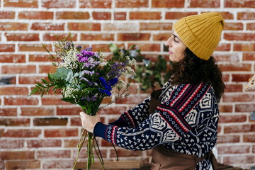 Woman working in a florist
