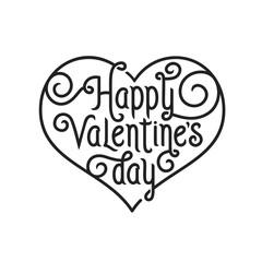 Valentines day lettering background. Vintage vector illustration.