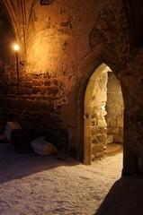 Gothic ruin at night, monastery Rosa Coeli, Dolni Kounice, Czech republic