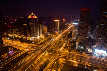 Night view of CBD city architecture in Beijing