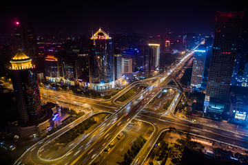 Night view of CBD city architecture in Beijing