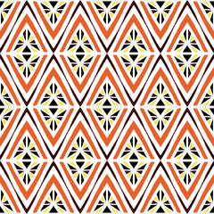 African tribal pattern vector seamless. Ethnic africa fabric print with abstract geometric rhombus. Bohemian background for boho home textile, rug, pillow, gypsy blanket, poster, wrapping paper.