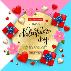 Valentines day sale background with hearts, flowers, gift box and hand lettering. Wallpaper, flyers, invitation, posters, brochure, banners Vector illustration