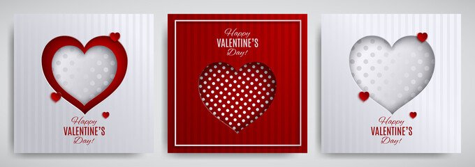 Valentine's day design set. Greeting card, poster, banner collection. Cutted paper heart on white / red striped / dotted satin background, paper cut out art style. Vector illustration, layers isolated