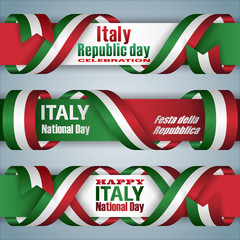 Set of web banners design, background with texts and national flag colors for Italy National holiday, celebration; Vector celebration