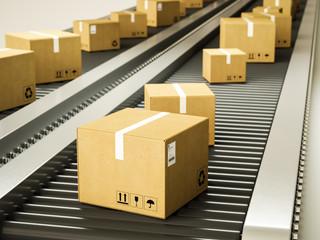 Package delivery, parcels on conveyor belt