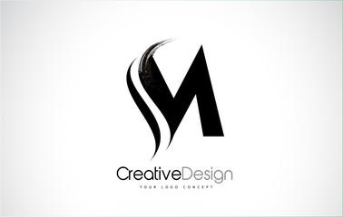 M Letter Design Brush Paint Stroke