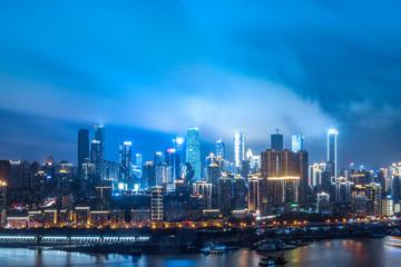 Night view of urban architecture in Chongqing,China