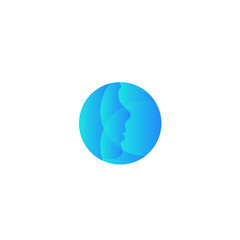 Plastic surgery company vector round logo. Abstract blue face silhouette. Face beauty care icon.
