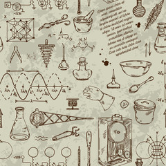 Seamless pattern with vintage science objects. Scientific equipment for physics and chemistry. Vector illustration