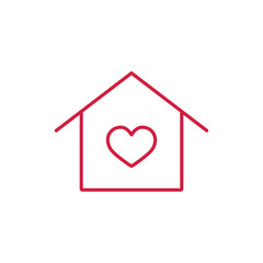 house with heart thin line red icon