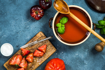 Ingredients for perfect gazpacho or tomato soup