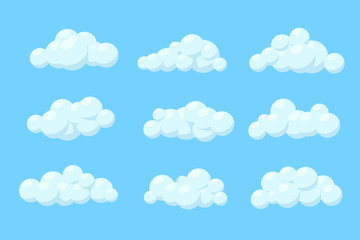 Set of cartoon vector clouds. Isolated Illustration on blue background.